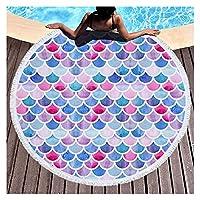 ラウンドプリントビーチタオルマイクロファイバーショールビーチタオルビーチマット抽象ビーチブランケットカバータッセルビーチマット水泳タオル 休暇のために (Color : A)