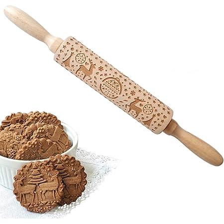 WELLXUNK® Rouleau à Biscuits, Rouleau à pâtisserie en Bois Écologique Motif de Cerfs de Noël Gaufrage Gravé Bâtonnets de Bois pour DIY Fondant Gâteau Pâte à Biscuits Cookies (D)