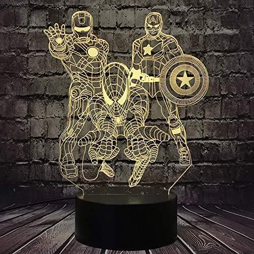 Eisen Mann Cartoon Spiderman Light The Avengers Held Captain America Sensor Touch 7 Farbänderung Wunderte Nacht Nacht für Jungen LED Dekor Lampe für Raum Weihnachtsstimmung Light Kind Spielzeug für Ju