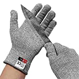 Cut Resistant Gloves (1 Pair) Food Grade Level 5 Protection, Safety Cutting Gloves