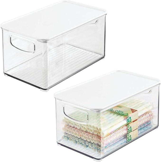 297 opinioni per mDesign Set da 2 contenitori in plastica con coperchio removibile – Vaschette