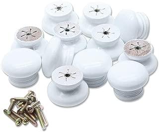 Mecion 12Pcs White Round Mushroom Shape Wooden Cabinet Knobs Drawer Pulls 35mmx26mm