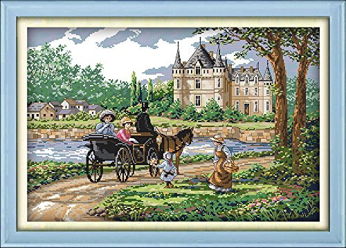 Joy Sunday Cross Stitch Kits Stamped Full Range of Embroidery Starter Kits for Beginners DIY 14CT 2 Strands-Suburban Scenery 21.3 x15 (inch)