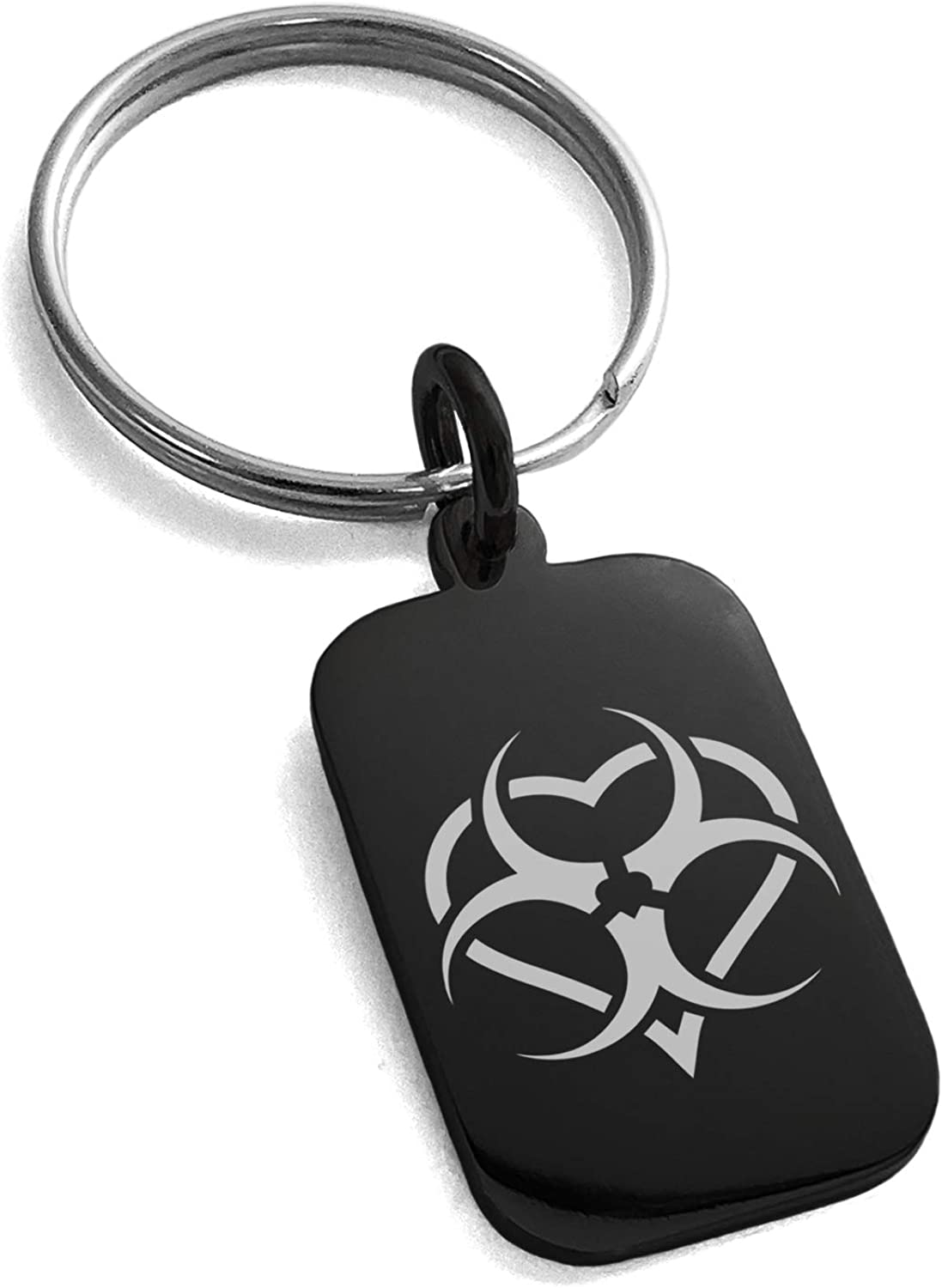 Tioneer Black Stainless Steel Biohazard Love Heart Symbol Small Rectangle Dog Tag Charm Keychain Keyring