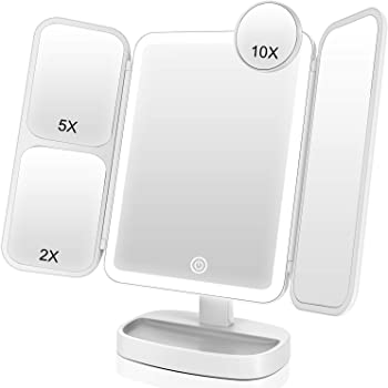EASEHOLD Makeup Mirror Vanity Mirror with Lights 38 LED Lighted Mirror 1X/2X/5X/10X Magnification Trifold Mirror with Touch Screen 180 Degree Rotation Dual Power Supply Dimming Lit Cosmetic Mirror