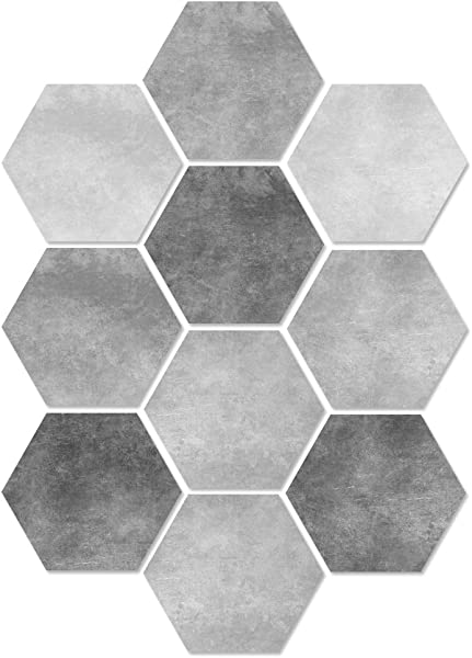 ANITYSO Peel And Stick PVC Hexagon Adhesive Wall Sticker DIY Waterproof Floor Sticker Home Decoration Wall Paper For Kitchen Bathroom Toilet Living Room 10 Pieces