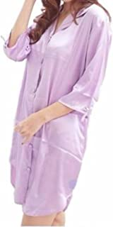 KIRITOA(キリトア) 美光沢 サテン ロング シャツ パジャマ