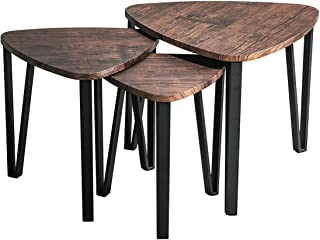 Industrial Nesting-Tables Living Room Coffee Table Sets of 3 Stacking End Side Tables Nightstands Vintage Night Tables for Bedroom Home Office Telephone Table Kids' Nightstands,Brown-CAS020