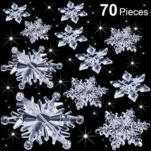 Boao 70 Pezzi Decorazioni Trasparenti Fiocchi di Neve in Cristallo Acrilico Ornamenti Albero di Natale Fai da Te Decorazione Festa Invernale