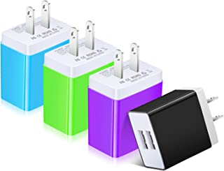 USB Charger, Costyle 4 Pack 3.1 Amp 15.5 Watt Dual USB 2 Port Home Travel Charger Power Adapter Plug Compatible iPhone Xs Max XR X 8 7, Samsung Galaxy S9 S8 Plus, iPad, LG- Green Blue Purple Black …