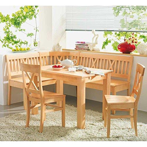 Pharao24 Set Bergheim Buche massiv Tisch Eckbank Stühle