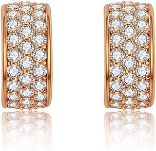 Italina Stud Earrings Cubic Zirconia Half Circle Shaped Jewelry Earrings for Women Girls Fashion Rhodium/Gold/Rosegold Plating