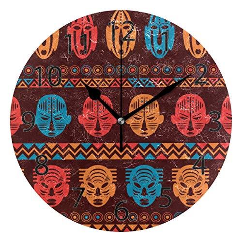Reloj de pared decorativo para el hogar, oficina, silencioso, de madera, 25,4 cm, para sala de estar, oficina (antiguo tótem)