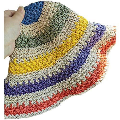 niumanery Women Girl Crochet Woven Straw Sun Visor Hat Rainbow Stripes Packable Bucket Cap 1 Bright Color C Children