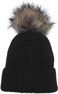 Linda Richards Luxury Ribbed Knit Genuine Fur Pom Pom Hat -