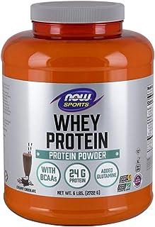 NOW Sports Nutrition, Whey Protein, 24 G With BCAAs, Creamy Chocolate Powder, 6-Pound