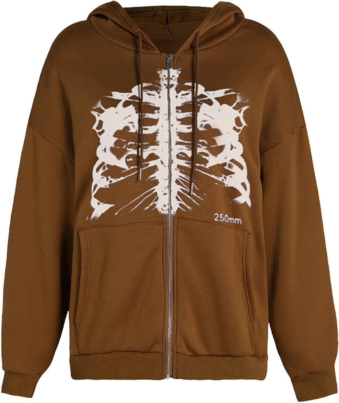 SZITOP Women's Plush Solid Skeleton PrintedFashion Loose Long Sleeve Zipper Streetwear Sports Hooded Tops Coat Jacket Hoodie