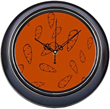 KUneh 14inch Large Silent Non Ticking Cafe Wall Clock Natural Creative Vegetable Carrot Metal Round Office Wall Clock Quality Quartz Battery Quiet Home Clock Wall for Home Office