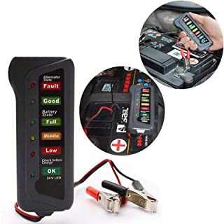 TERMALY Car Battery Tester Checker,Car Battery Testers,Car Battery Tools,24V LED Battery car Motorcycle Yacht Battery Battery Tester,Battery Test,A