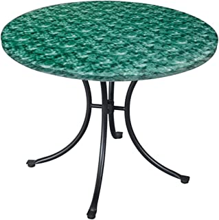 CT DISCOUNT STORE CTD Store Deluxe Fitted Elasticized Table cover Fit up to 48 Inches Diameter (Green Marble)