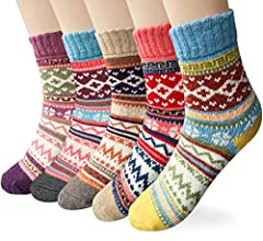 Material: Womens winter warm socks made of 35% wool + 29% cotton + 36% polyester. These cabin socks are soft, breathable and wearable. Size: Our wool socks women are free size 23 to 25cm, suitable for women US shoe size 5 to 9, the women socks are el...