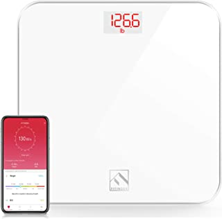 مقیاس وزن بدن دیجیتال FITINDEX ، مقیاس حمام بلوتوث BMI با برنامه تلفن های هوشمند ، فناوری مرحله به مرحله ، شیشه ای محکم