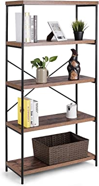 Tangkula 5-Tier Bookcase, Rustic Industrial Bookshelf, Décor Accent Display for Home, Office, Living Room, Bedroom, Wood Shelves w/Metal X-Shaped Frame, Display Bookshelf (Brown)