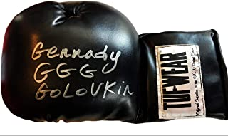 Boxer Gennady Golovkin Autographed Black Boxing Glove in Silver Signature JSA