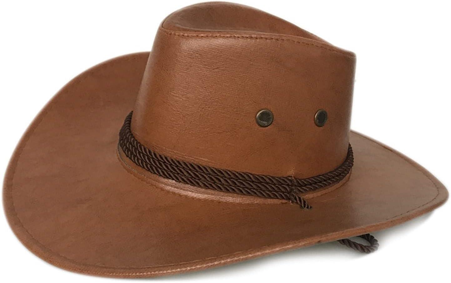 Ranking TOP18 QQSA Brim Faux Leather Cowboy Very popular Hat Felt Vintage Men's B Wide