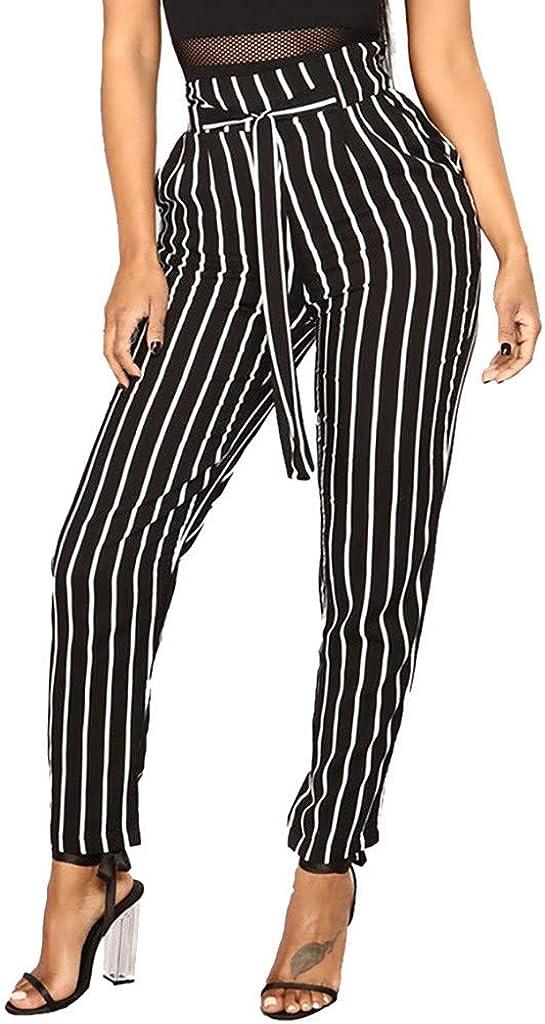 Women's High Waist Harem Pants Bowtie Elastic Waist Stripe Casual Pants Paper Bag Pants Palazzo Pants