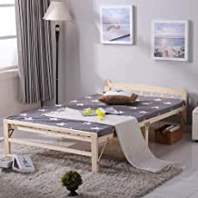 Folding Bed Solid Wood Folding Bed Accompanying Bed Siesta Bed Guest Bed for Office Living Room Folding Bed Single (Color ...