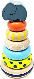Orcamor Wooden Stacking Rings Toy with Elephant Topper - for Toddler 1 Year Old and Up - 8 Inches Tall