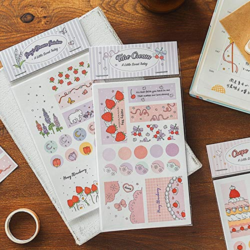 4 Sheets/pack Cute Cartoon Decorative Washi Stickers Kawaii Scrapbooking Stick Label Diary Korean Stationery Deco Album Stickers