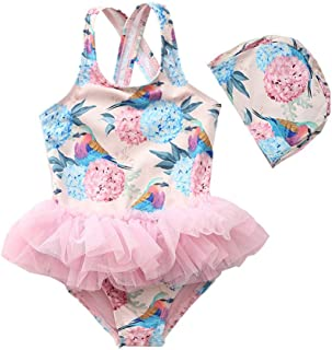 Miccina Baby Toddlers Girls One Piece Swimsuit Hawaiian Ruffle Beach Bathing Suit Kids Sunsuit