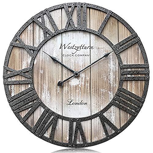 aimeishi Grote landelijke stijl houten muur klok batterij aangedreven niet-adsorberende kwarts beweging mute klassieke kunst klassieke huisdecoratie woonkamer kantoor open haard
