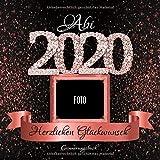 Abi 2020: Personalisiertes Gästebuch I Festliches Schwarz Rose Gold Diamant Cover mit Fotorahmen I...