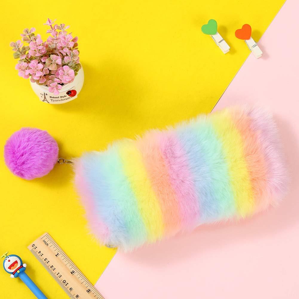 Accrie Fashion - Estuche para lápices (diseño de arcoíris), color Bola de pelo rosa y morado.: Amazon.es: Oficina y papelería