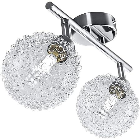B.K.Licht plafonnier LED avec globes en cristal, 2 spots orientables, ampoules G9 3,5W fournies, luminaire design moderne, éclairage plafond, blanc chaud, lampe salon cuisine couloir chambre 230Vv