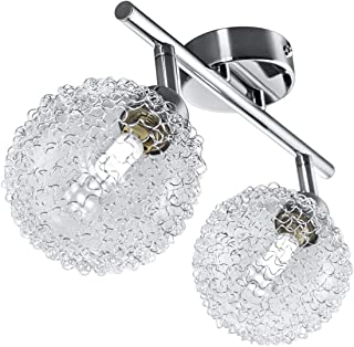 B.K.Licht plafonnier LED avec globes en cristal, 2 spots orientables, ampoules G9 3,5W fournies, luminaire design moderne,...