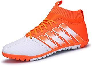 JIYE Men Soccer Shoes for Women Breathable Lightweight Turf Football Shoe Fashion Training Sneakers,Orange,40EU=7US-Men/8.5US-Women