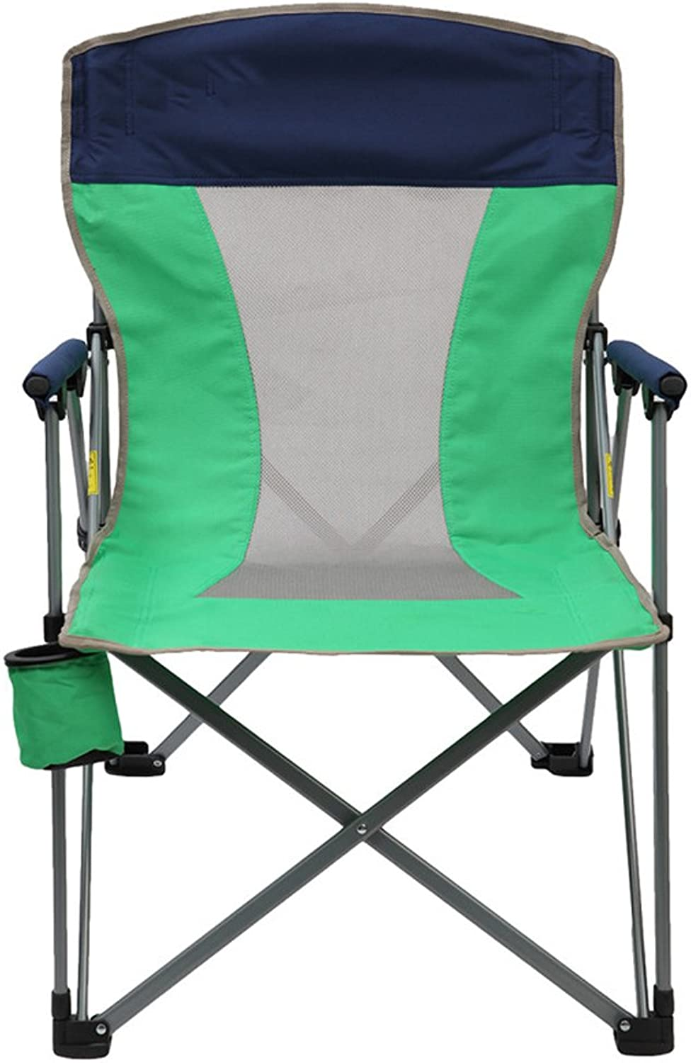 RFJJAL Folding Steel Frame Camping Chair Padded with Armrest Mesh Cup Holder Lightweight Portable Stable for Camping, Picnics, Beach, Fishing (color   Green)