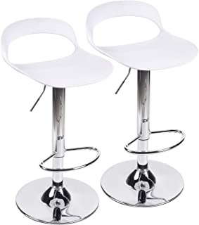 Set of 2 Adjustable Swivel Bar Stools Plastic Barstools Pub Chair for Kitchen Island Counter Height (White)