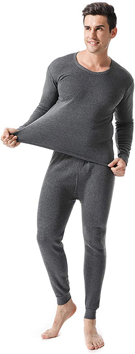 Men's Thermal Underwear Set,Non-Marking Breathable Body,Shaping Elasticity Long Sleeve Top Moisture Wicking,2,L