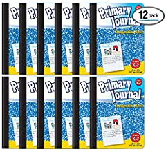 """Twelve wireless 100 sheet/200 page, one-subject primary journals: dotted line 1/2"""" primary ruled white paper to teach children how to properly position block letter printing and cursive writing, 9-3/4 x 7-1/2 inches Durable hardcovers, front and back..."""