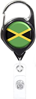 Officially Needed-Jamaica Country ID Badge Holder, Black Retractable Carabiner Clip | Great Office Supplies or Holding Keys | Gifts for Women, Teachers, Nurses, Professionals, Government, New Hires