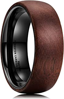 8mm Tungsten Carbide Ring Dome Inner Hole Plated Black Inlaid with Wood Comfort Fit