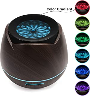 Essential Oil Diffuser - Luckyfine 7 Color LED Lights Aromatherapy Aroma Diffuser, Wood Grain Cool Mist Humidifier with Adjustable Mist Mode,Auto Off Aroma Diffuser for Bedroom/Office/Trip - 400ml