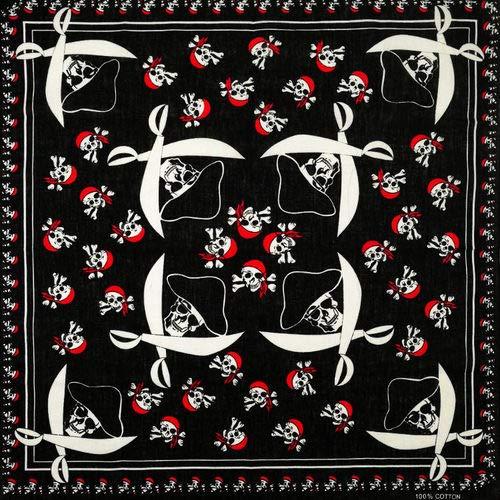 Yener hiphop katoenen schedel bandana vierkante sjaal hoofddoek zwarte fiets hoofdband bedrukt, rose rood