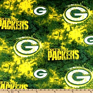 NFL Green Bay Packers Liquid Blue Football Print Fleece Fabric By the Yard