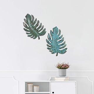 Tooarts ideale come decorazione per la casa il soggiorno Verde a forma di foglia di metallo stile vintage Scultura artistica da parete in metallo